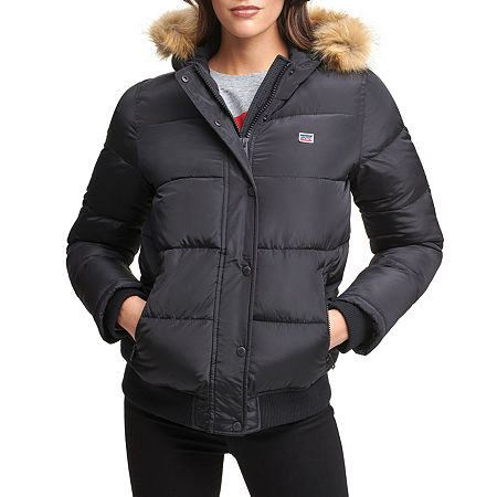 Levi's Twill Hooded Wind Resistant Heavyweight Bomber Jacket, Small , Black