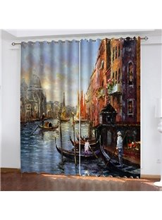 3D Splendid Venice View Print Blackout Living Room Curtains 200g/m² Polyester 80% Shading Rate and UV Rays Environmentally Friendly Printing No Pillin