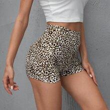 Shorts biker de leopardo de cintura ancha