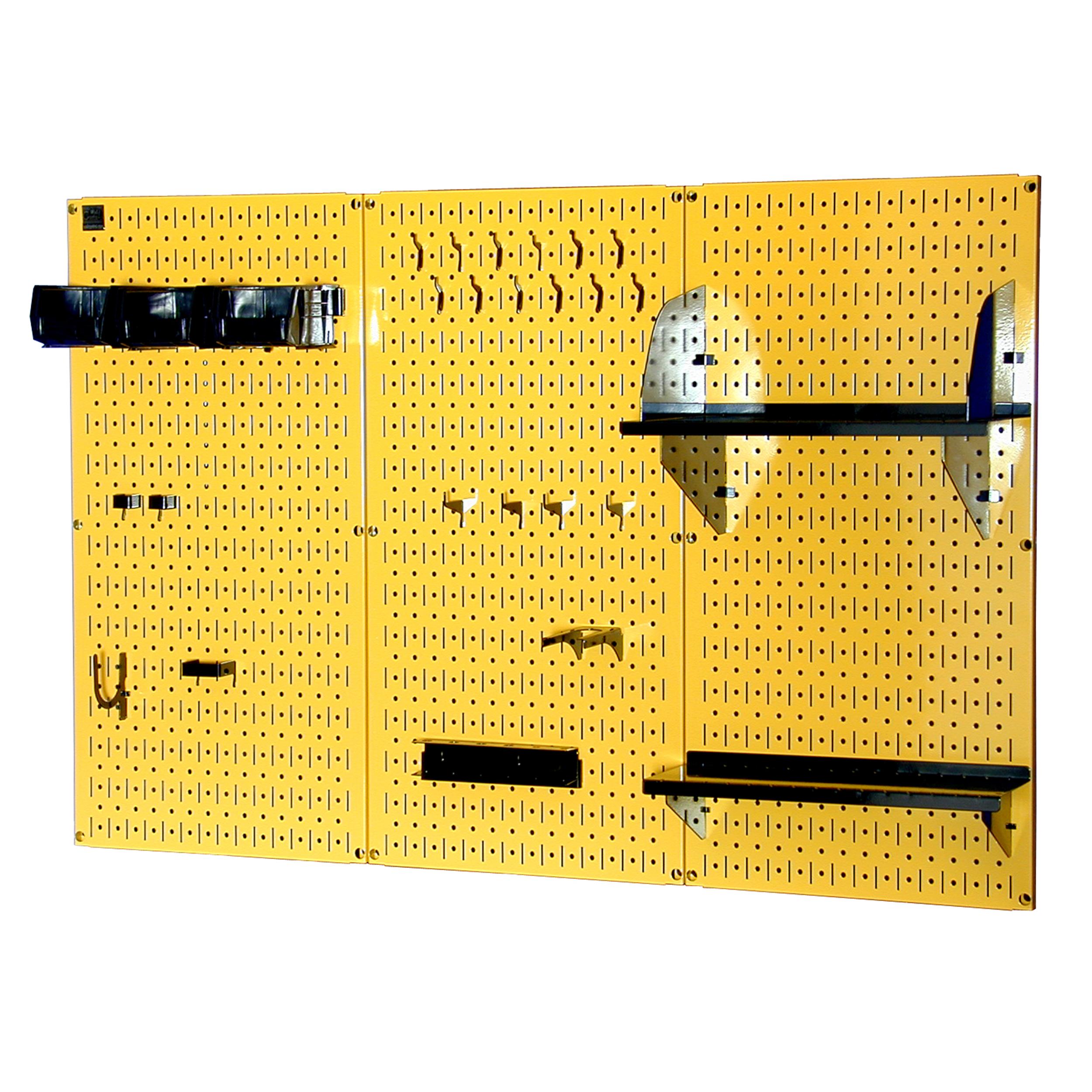 4' Metal Pegboard Standard Tool Storage Kit - Yellow Toolboard & Black Accessories