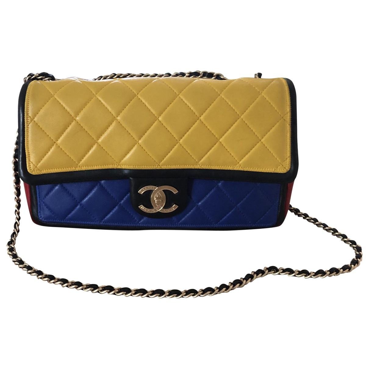 Chanel - Sac a main Timeless/Classique pour femme en cuir - jaune