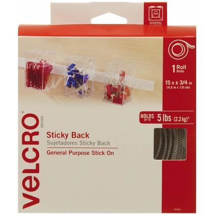 Velcro® Ruban Auto-Adhésif, Attaches à Crochets et Boucles, 15 pi x 3/4 po, Blanc
