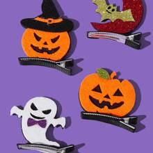 2 Stuecke Zufaellige Farbe Haarspangen mit Halloween Design fuer Hunde