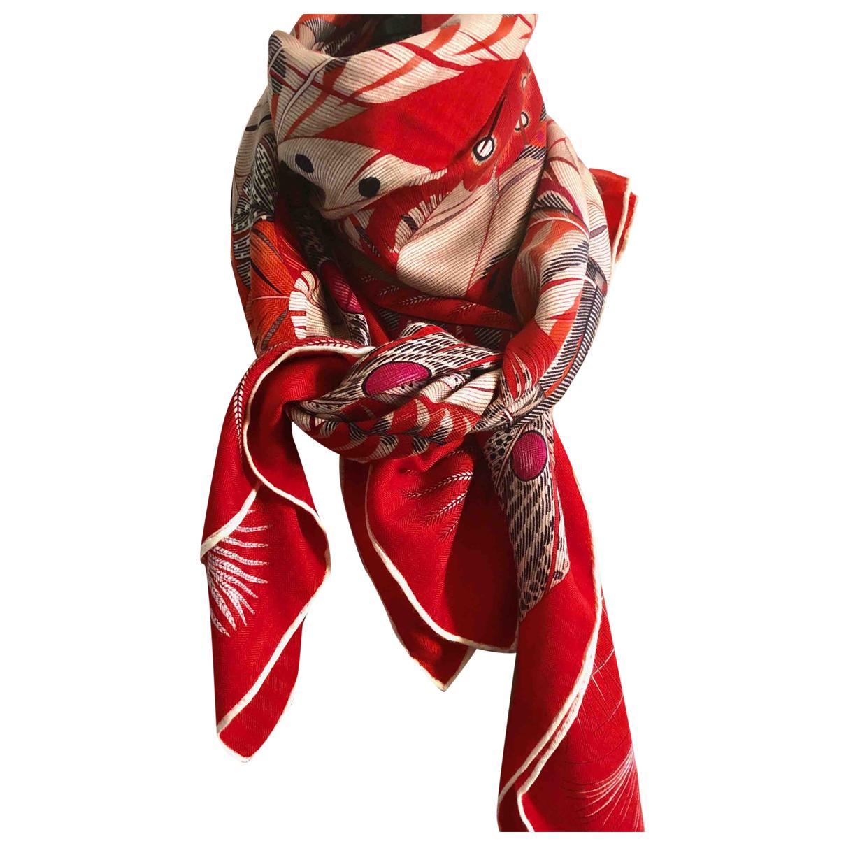 Hermes - Foulard Chale 140 pour femme en cachemire - rouge