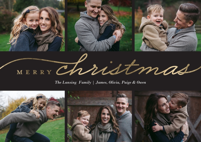 Christmas Photo Cards 5x7 Cards, Standard Cardstock 85lb, Card & Stationery -Christmas Simple Script Collage by Tumbalina