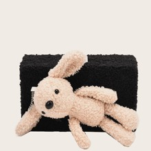 Bolso caja mullido con diseño de oso de dibujos animados