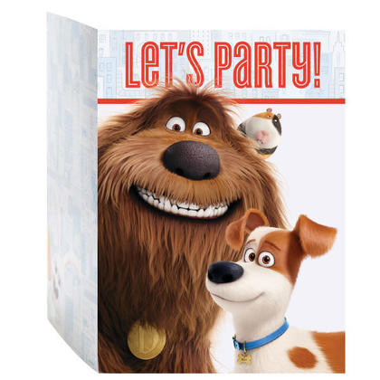 The Secret Life of Pets 8 Invitations Pour la fête d'anniversaire