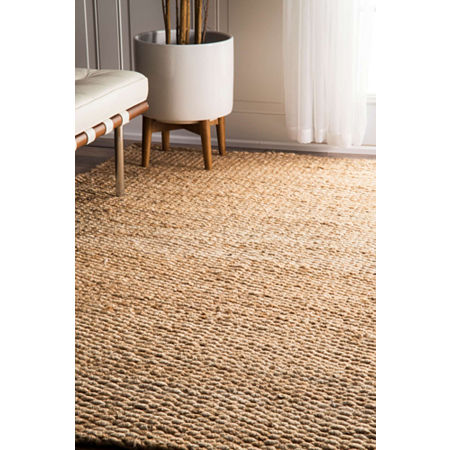 nuLoom Hand Woven Hailey Jute Rug, One Size , White