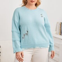 Pullover mit sehr tief angesetzter Schulterpartie und Riss