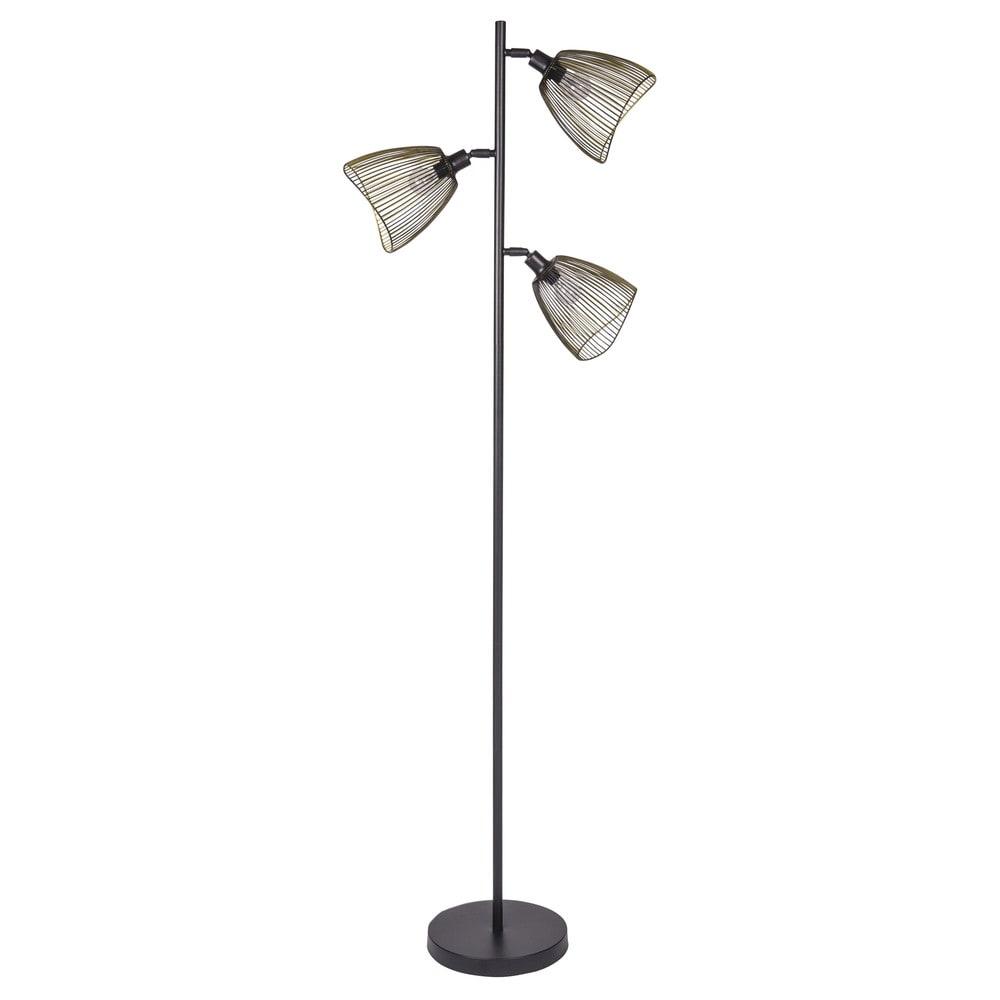 Lampe mit 3 Spots aus Metall in Schwarz und Gold H165