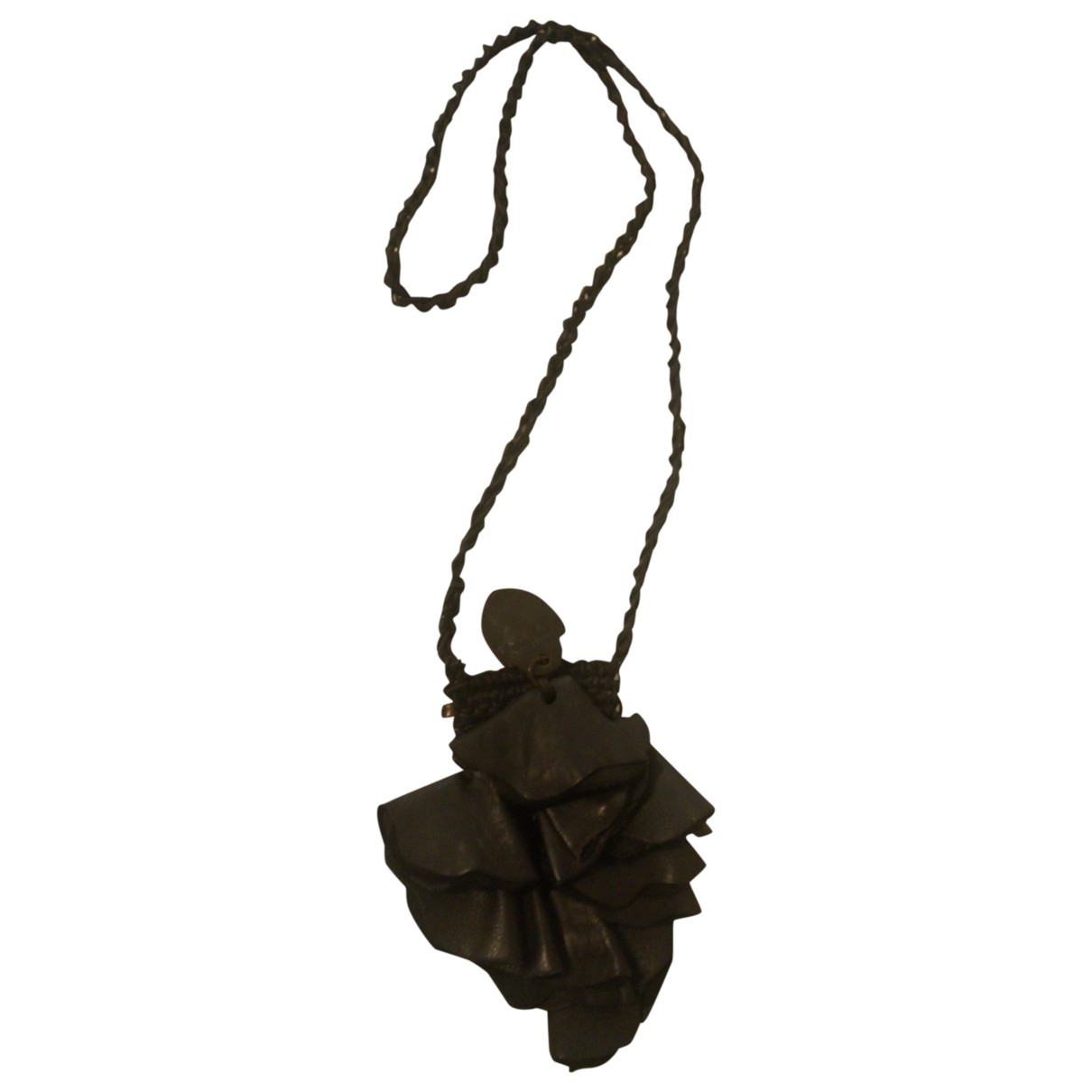 Non Signé / Unsigned \N Black Leather Long necklace for Women \N