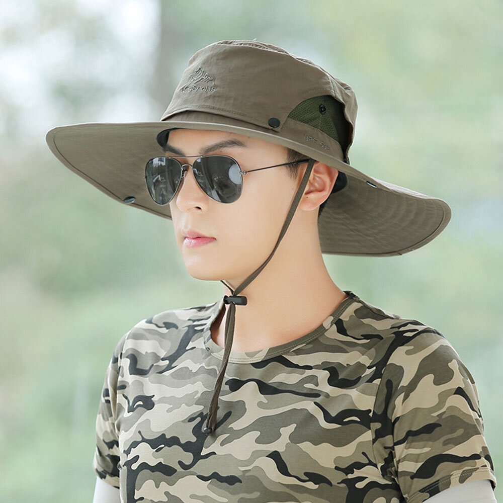 Sun Hat Men Outdoor Fishing Hat Men's Sun Hat Cover Face UV Protection Breathable Fisherman Hat