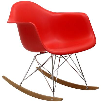 Rocker Collection EEI-147-RED Lounge Chair with Smooth-Rocking Sled Base  Waterfall Seat Edge  Chrome Plated Steel Base and Polypropylene Plastic