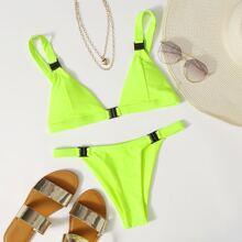 Buckle Detail Triangle Tanga Bikini Swimsuit
