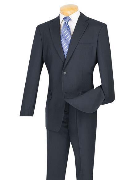 Men's Cheap Navy Blue 2 Button Slim Fit Suit With Flat Front Pant