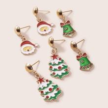 3pairs Christmas Santa Claus Charm Drop Earrings