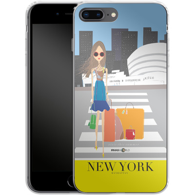 Apple iPhone 8 Plus Silikon Handyhuelle - NEW YORK TRAVEL POSTER von IRMA