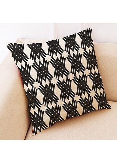 1pc 45 X 45cm Geometric Pattern Black Pillow Case - One Size