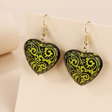 Graphic Heart Drop Earrings