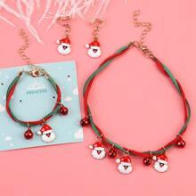 Toddler Girls Christmas Santa Claus Decor Necklace & Bracelet & Earrings