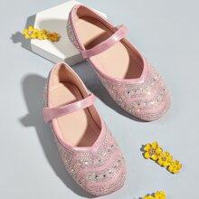 Zapatillas de niñitas mary jane con diamante de imitacion