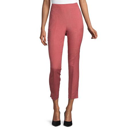 Liz Claiborne Womens Mid Rise Regular Fit Ankle Pant, 14 , Pink
