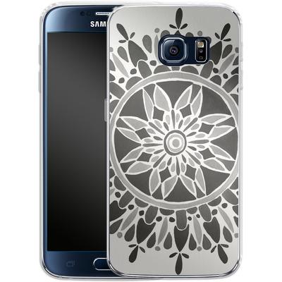 Samsung Galaxy S6 Silikon Handyhuelle - Mandala Black von Cat Coquillette