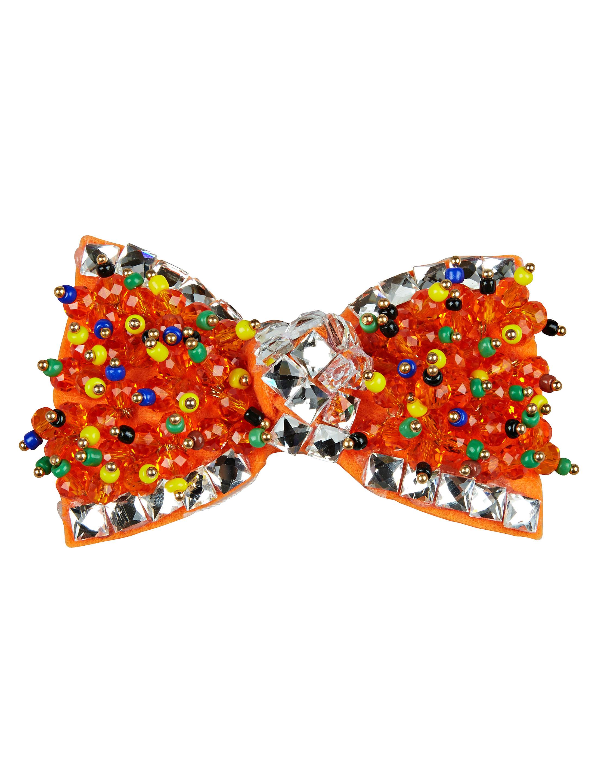 Kostuemzubehor Aufnaeher Fliege mit Perlen orange