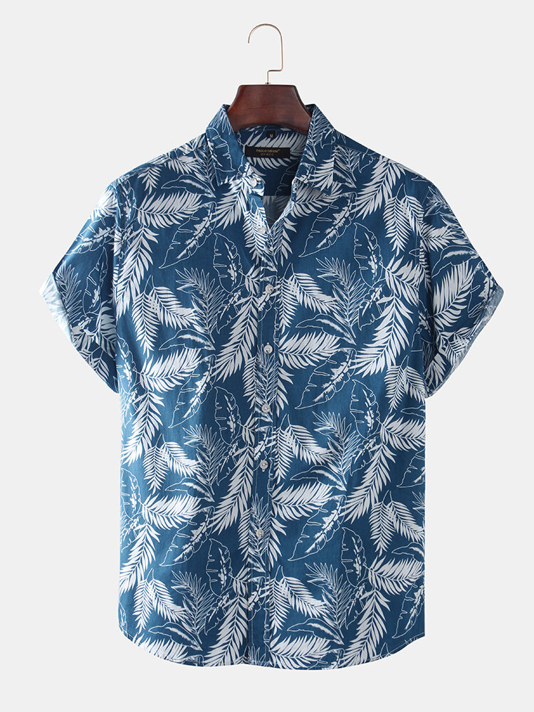 Mens Vacation Style Tropical Leaf Print Short Sleeve Shirts