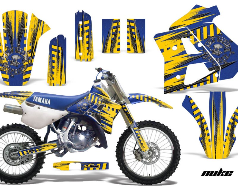 AMR Racing Dirt Bike Graphics Kit Decal Sticker Wrap For Yamaha WR250Z 1991-1993áNUKE YELLOW BLUE