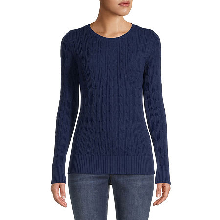 St. Johns Bay Cable Womens Crew Neck Long Sleeve Pullover Sweater, X-large , Blue