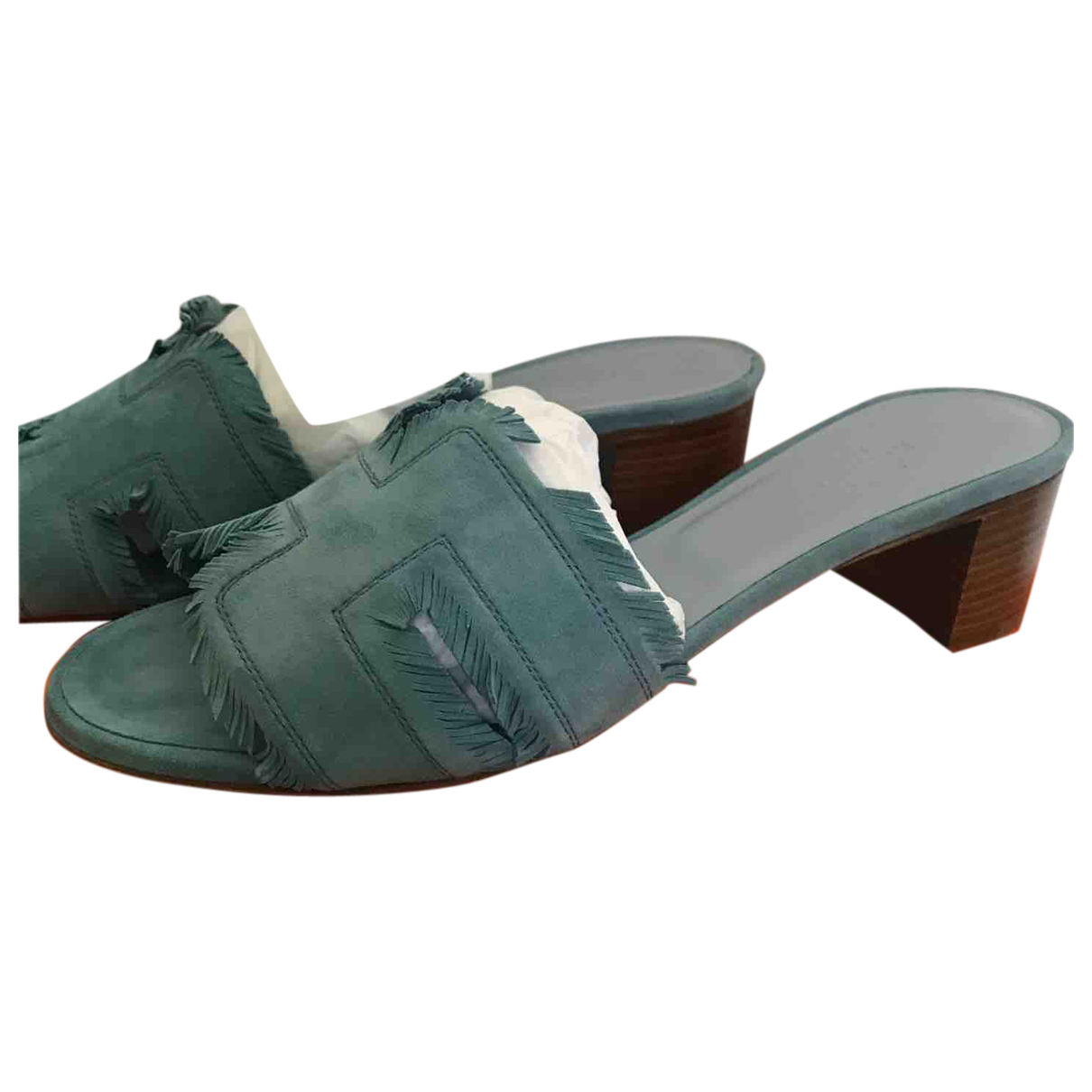 Hermes - Sandales Oasis pour femme en suede - turquoise