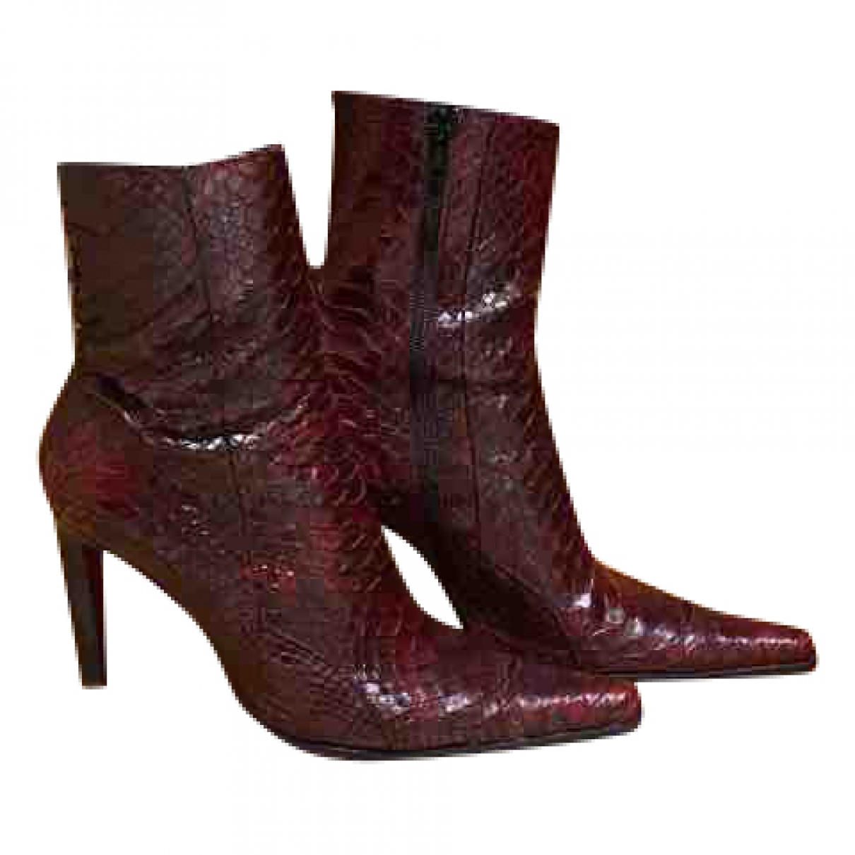 Non Signé / Unsigned \N Burgundy Python Boots for Women 37.5 EU