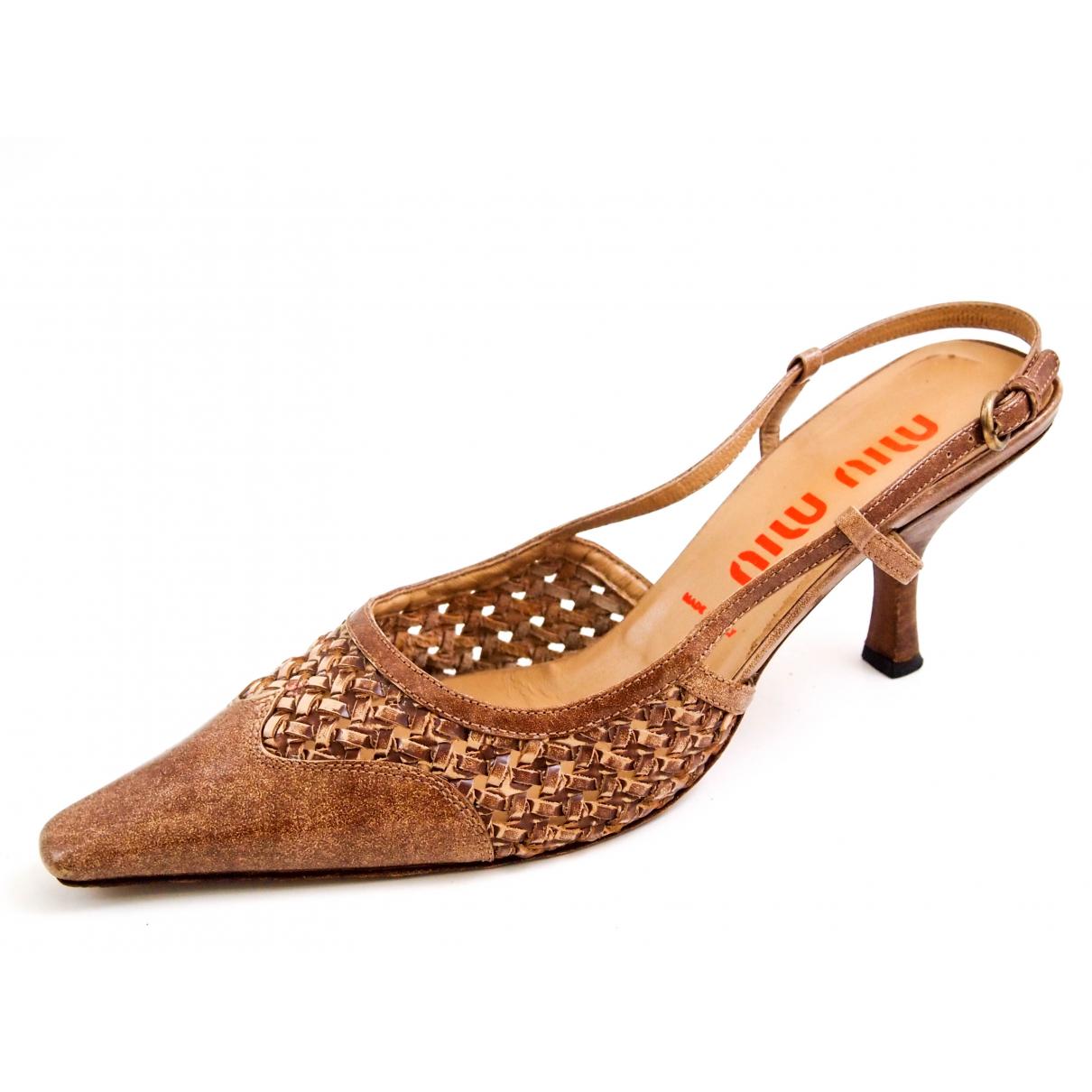 Miu Miu \N Brown Leather Heels for Women 40 EU