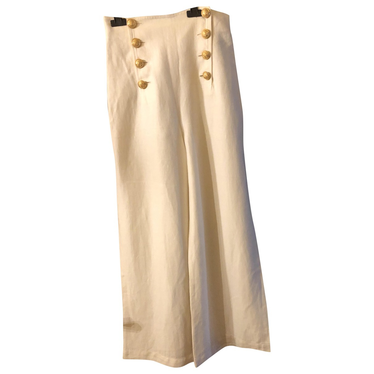 Georges Rech \N White Linen Trousers for Women 38 FR
