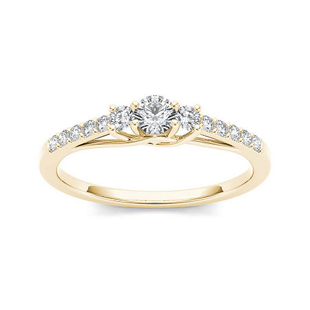 1/3 CT. T.W. Diamond 10K Yellow Gold 3-Stone Engagement Ring, 6 , No Color Family