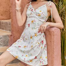 Floral Twist Front Shirred Dress