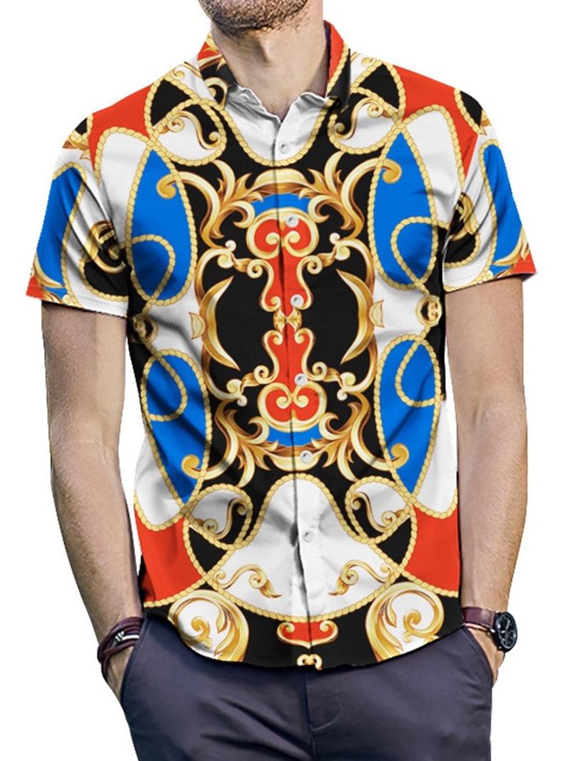 Ericdress Lapel Fashion Color Block Summer Mens Single-Breasted Shirt