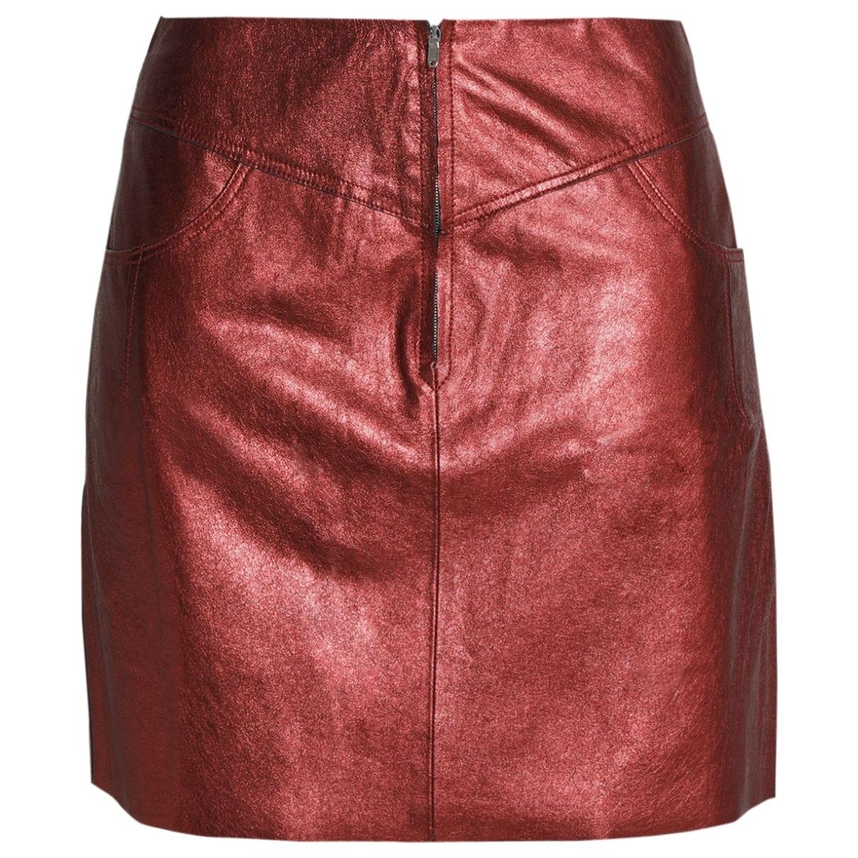 Sandro - Jupe   pour femme en cuir - rouge
