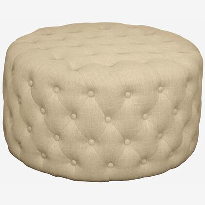 Lulu Collection 353616-F Round Ottoman with Solid Birch Frame  Button Tufted Detailing and Fabric Upholstery in