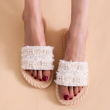 Faux Pearl Decor Slippers