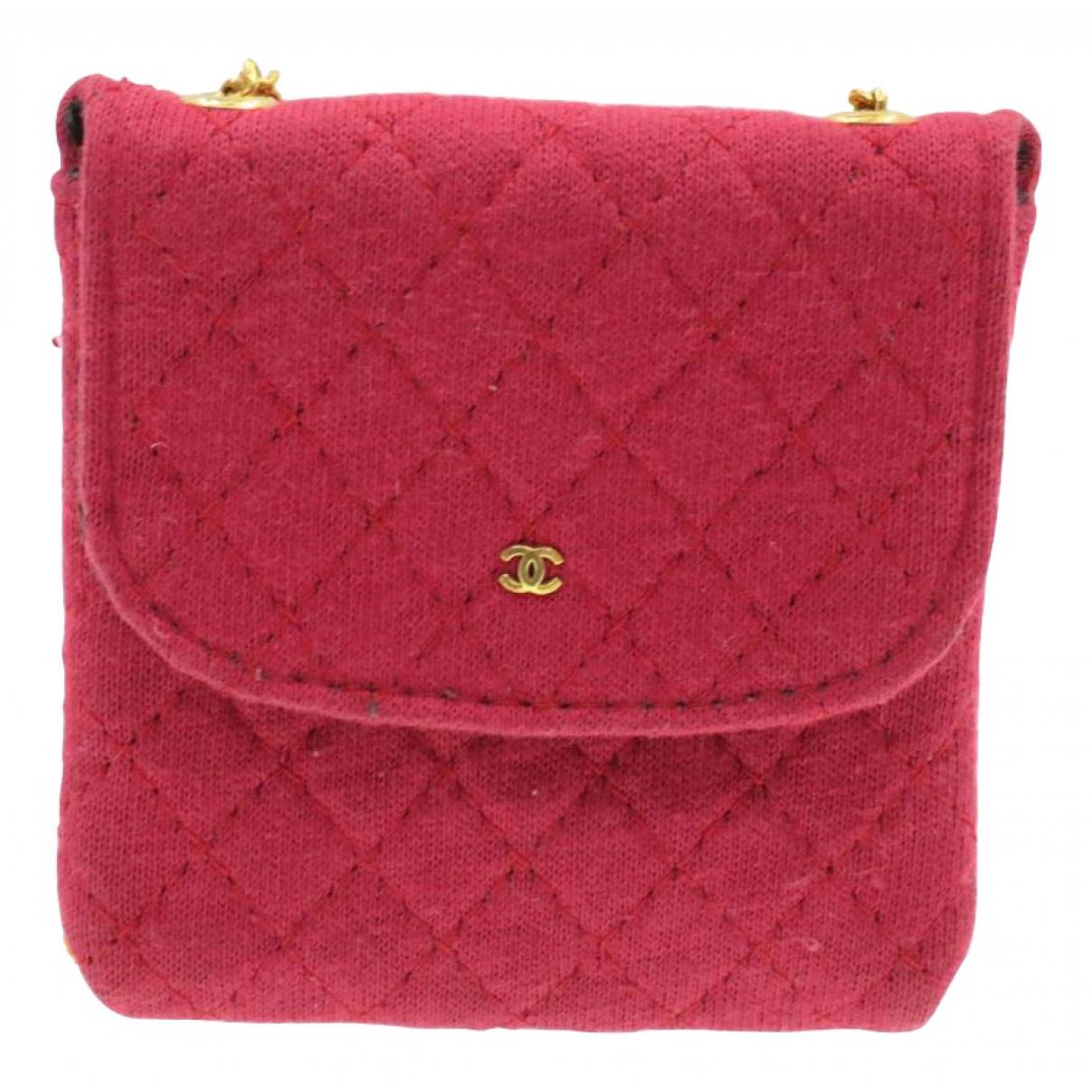 Chanel \N Clutch in  Rosa Leinen