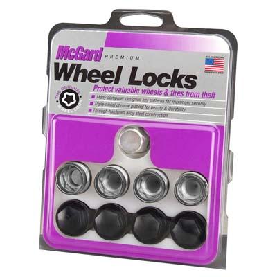McGard 25167 Wheel Lock Nut Set - 4pk. (Under Hub Cap / Radius Seat) M14X1.5 / 19mm Hex / .890in. L w/Caps