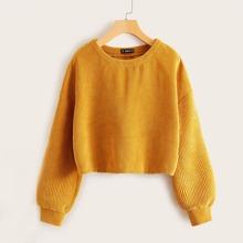 Drop Shoulder Cord Sweatshirt