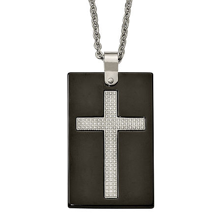 Mens Cubic Zirconia Stainless Steel & Black Ceramic Cross Pendant, One Size , No Color Family