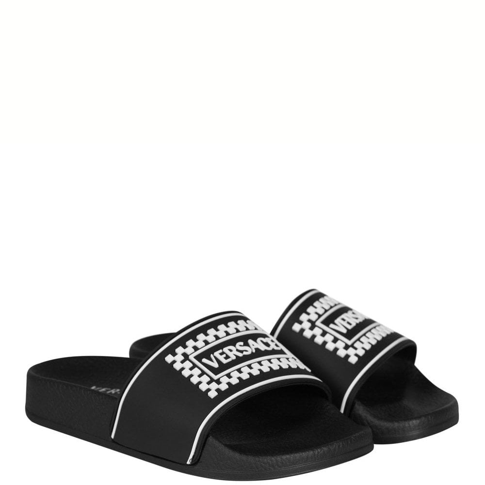 Versace Kids Sliders Colour: BLACK, Size: 37