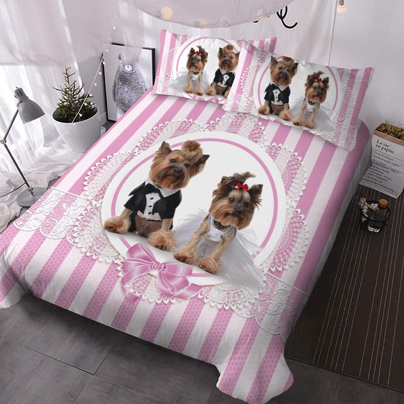 Dogs Digital Printed 3pcs 3D Lightweight Warm Soft Feather Fabric Microfiber Comforter Sets