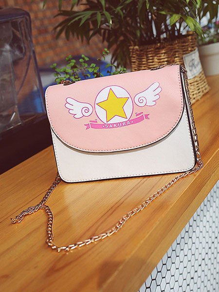 Milanoo Sweet Lolita Shoulder Bag Cardcaptor Sakura Print PU Pink Lolita Bag