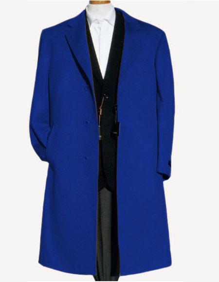 Men's Indigo Soft Finest Grade Of Cashmere Wool Overcoat ~ Topcoat