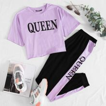 Letter Graphic Tee and Contrast Sideseam Sweatpants Set